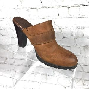 B.O.C brown tanned leather heeled mules